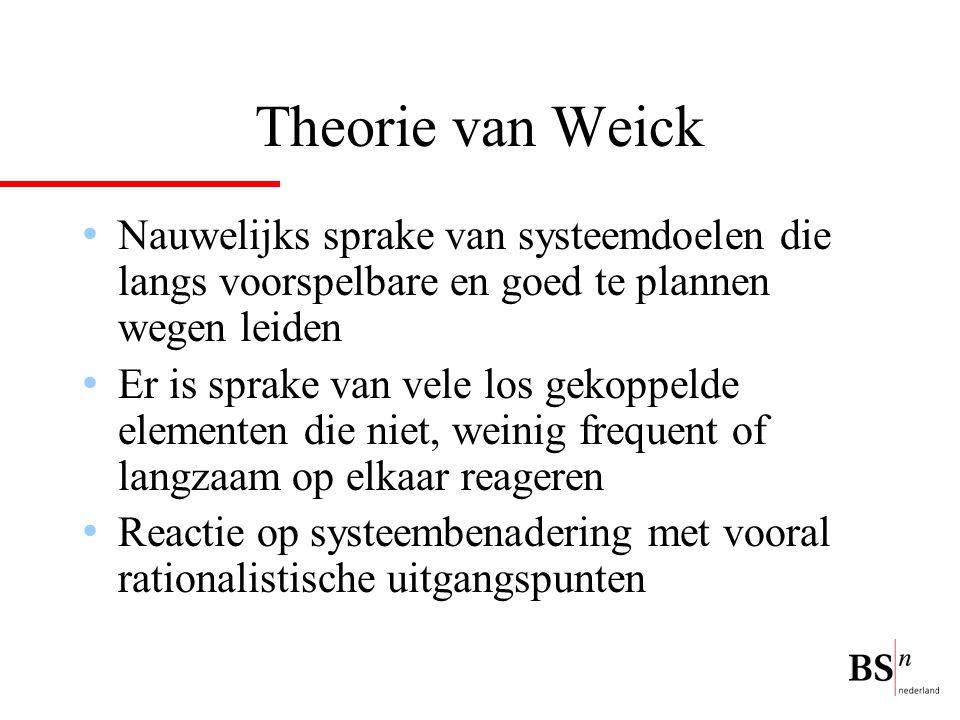 Theorie van Weick Nauwelijks sprake van systeemdoelen die langs voorspelbare en goed te plannen wegen leiden.