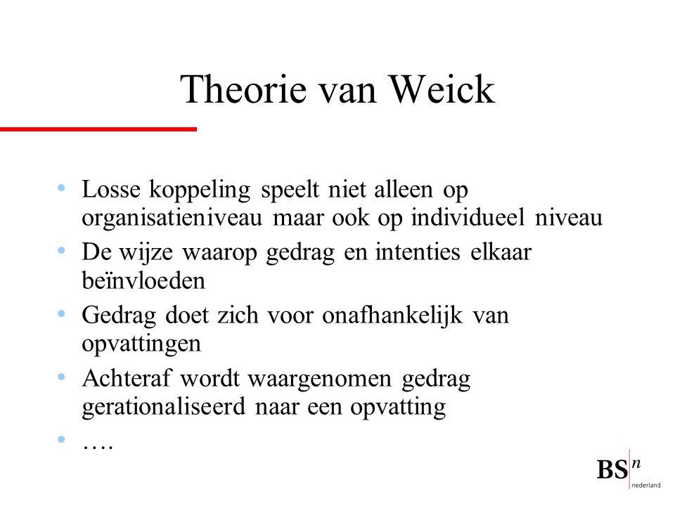 Theorie van Weick Losse koppeling speelt niet alleen op organisatieniveau maar ook op individueel niveau.