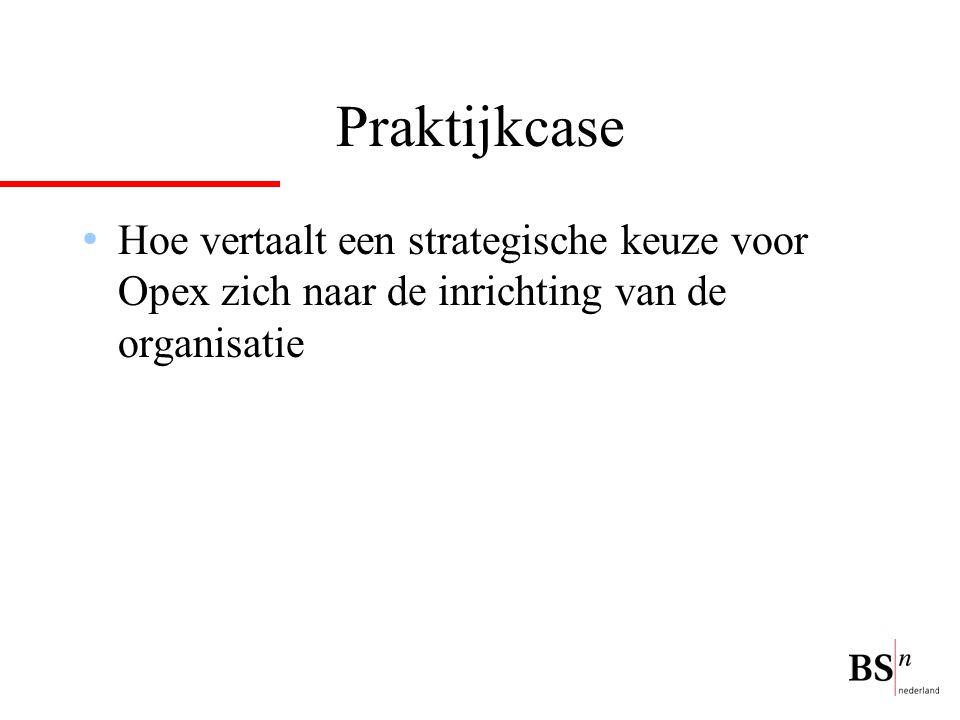 Praktijkcase Hoe vertaalt een strategische keuze voor Opex zich naar de inrichting van de organisatie.