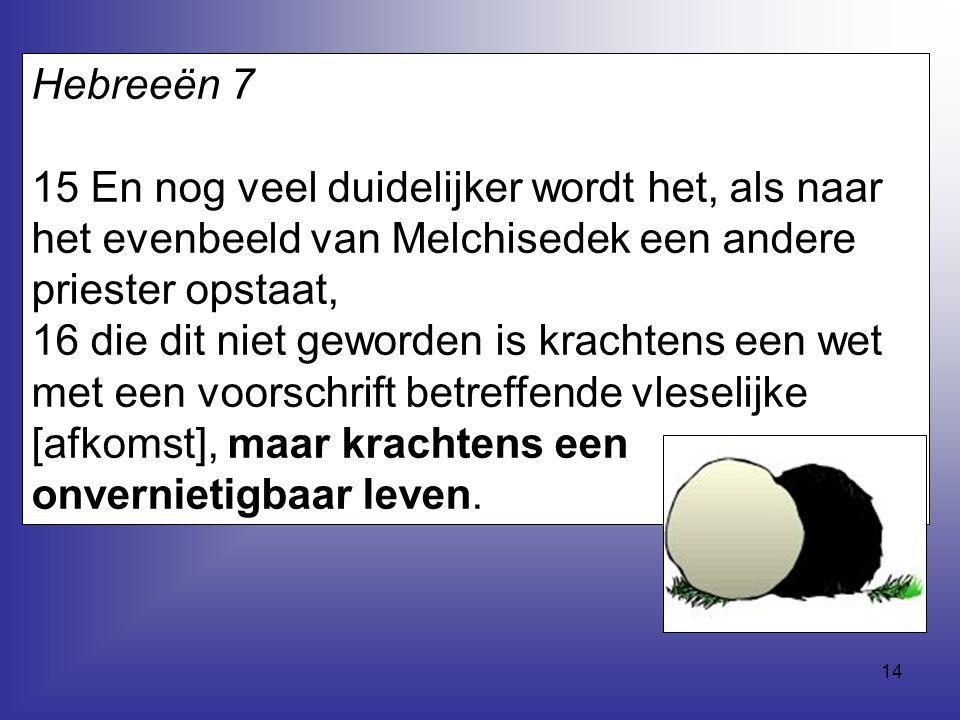 Hebreeën 7 15 En nog veel duidelijker wordt het, als naar het evenbeeld van Melchisedek een andere priester opstaat,