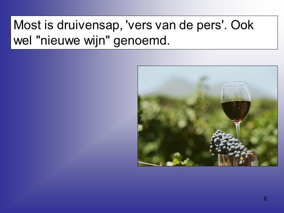 Most is druivensap, vers van de pers . Ook wel nieuwe wijn genoemd.