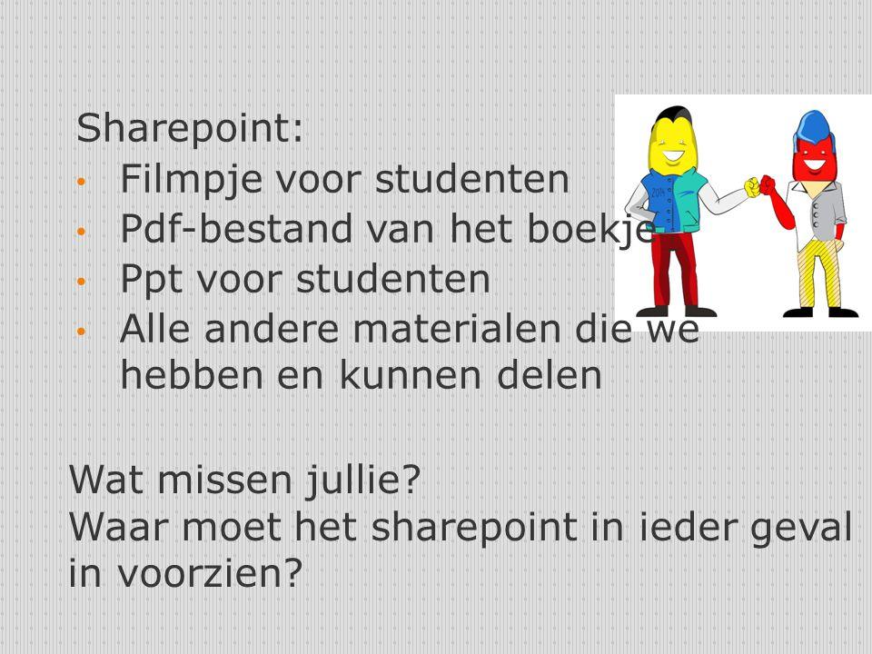 Sharepoint: Filmpje voor studenten. Pdf-bestand van het boekje. Ppt voor studenten. Alle andere materialen die we hebben en kunnen delen.