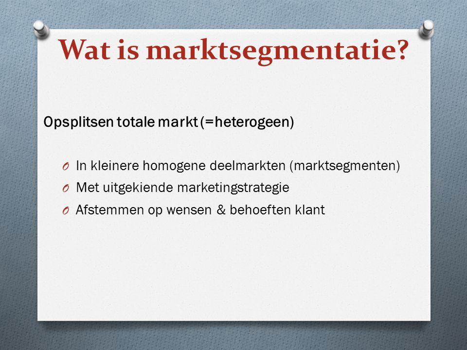 Wat is marktsegmentatie