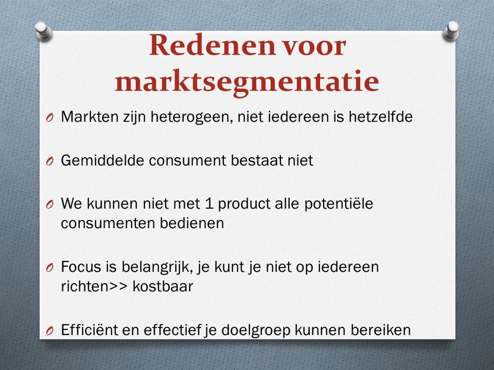 Redenen voor marktsegmentatie