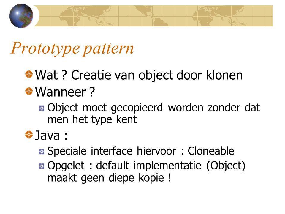 Prototype pattern Wat Creatie van object door klonen Wanneer