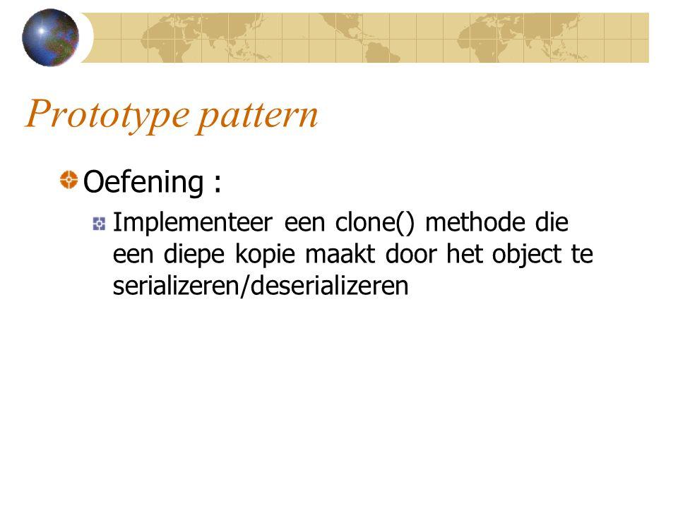 Prototype pattern Oefening :