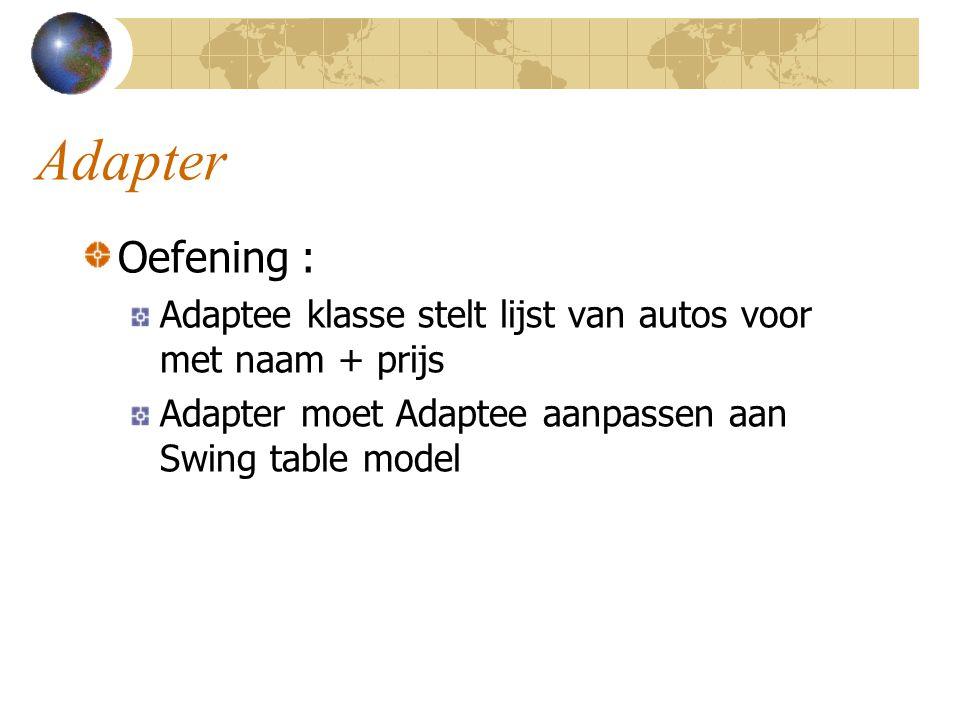 Adapter Oefening : Adaptee klasse stelt lijst van autos voor met naam + prijs.