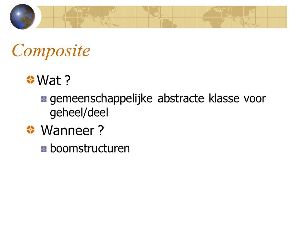 Composite Wat gemeenschappelijke abstracte klasse voor geheel/deel Wanneer boomstructuren