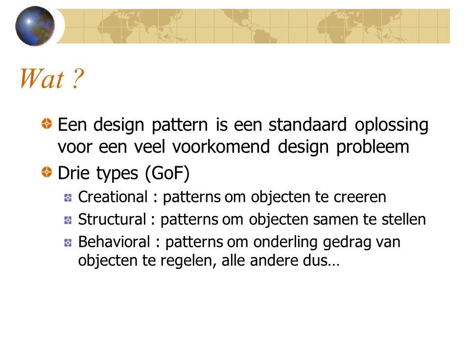 Wat Een design pattern is een standaard oplossing voor een veel voorkomend design probleem. Drie types (GoF)