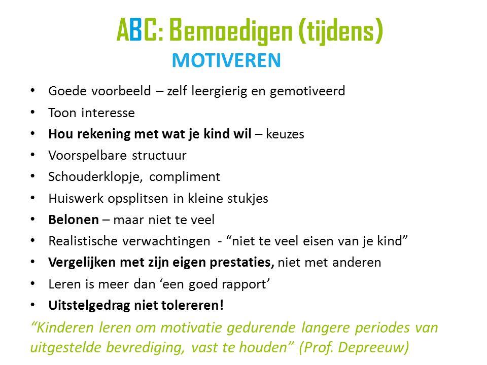 ABC: Bemoedigen (tijdens) MOTIVEREN