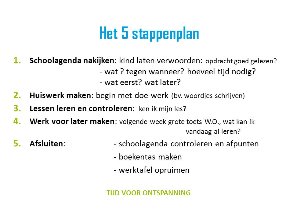 Het 5 stappenplan