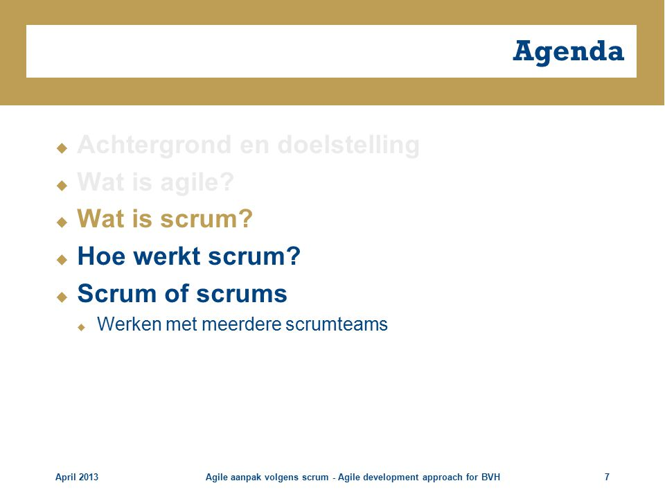 Agile aanpak volgens scrum - Agile development approach for BVH