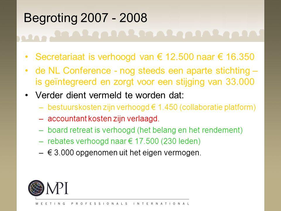 Begroting 2007 - 2008 Secretariaat is verhoogd van € 12.500 naar € 16.350.