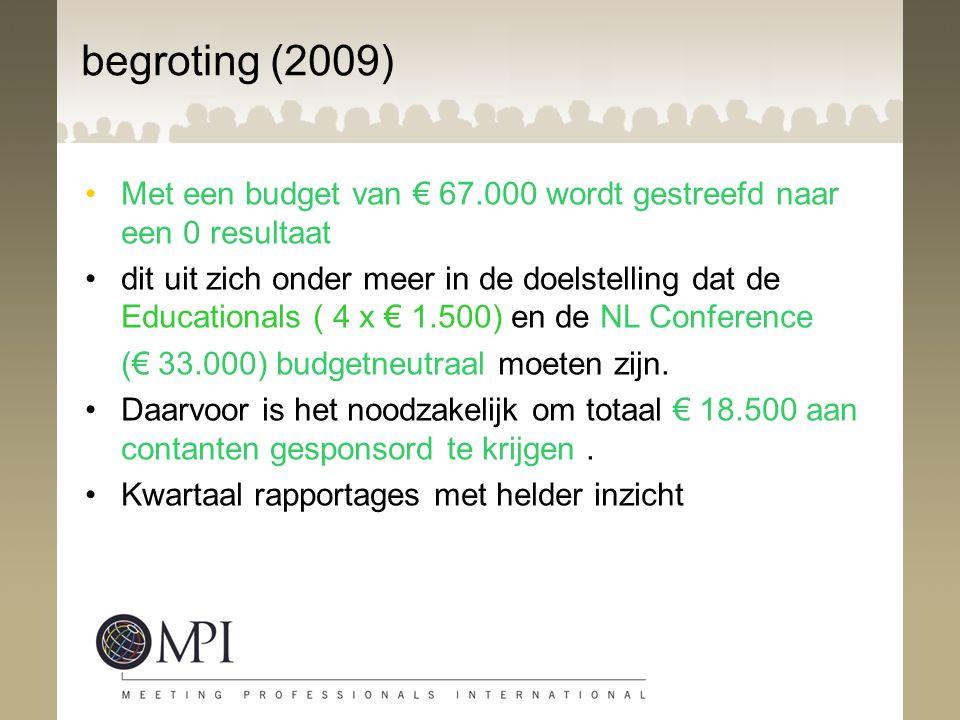 begroting (2009) Met een budget van € 67.000 wordt gestreefd naar een 0 resultaat.