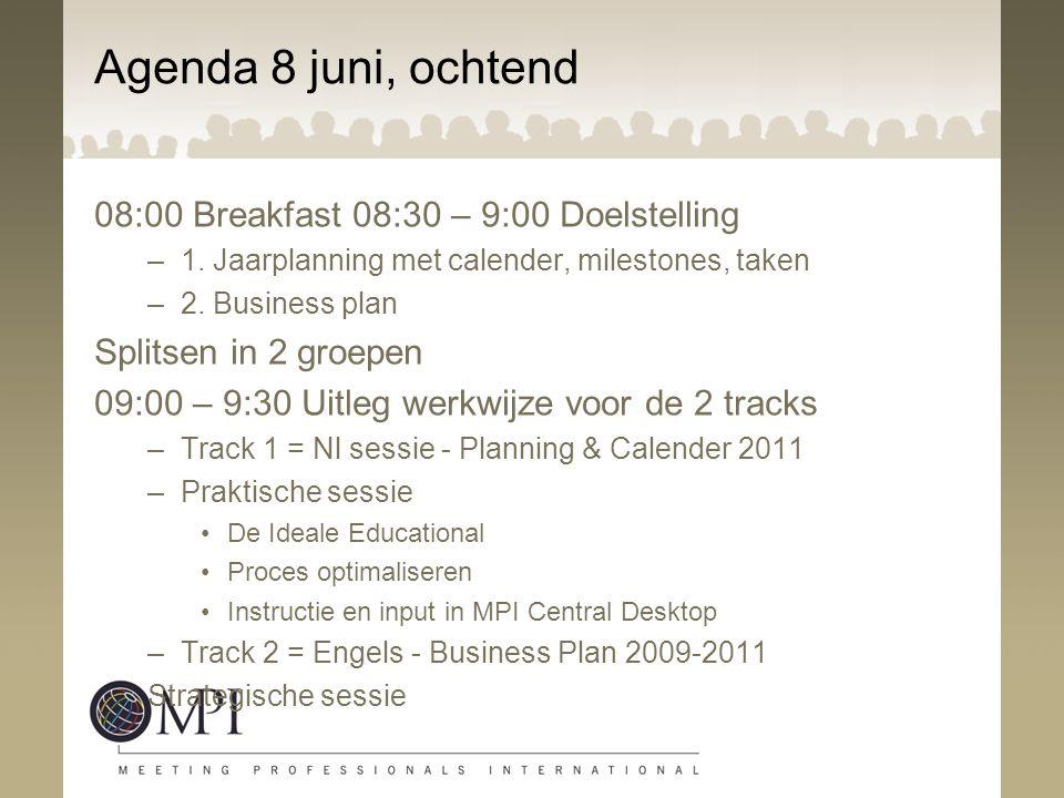 Agenda 8 juni, ochtend 08:00 Breakfast 08:30 – 9:00 Doelstelling