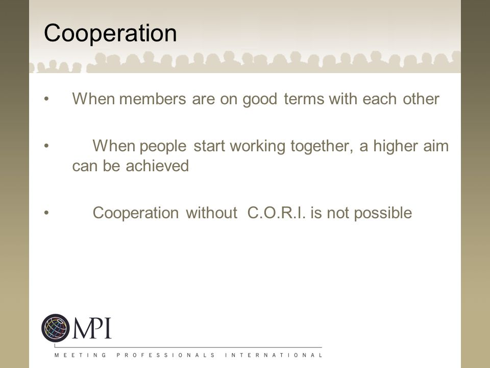 Cooperation When members are on good terms with each other