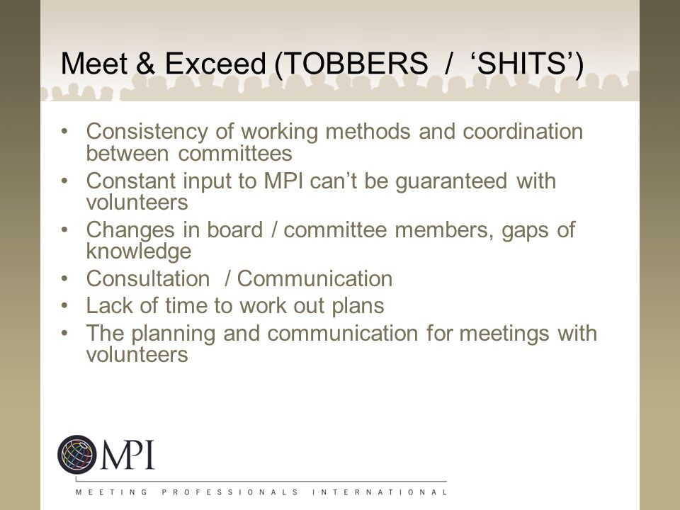 Meet & Exceed (TOBBERS / 'SHITS')