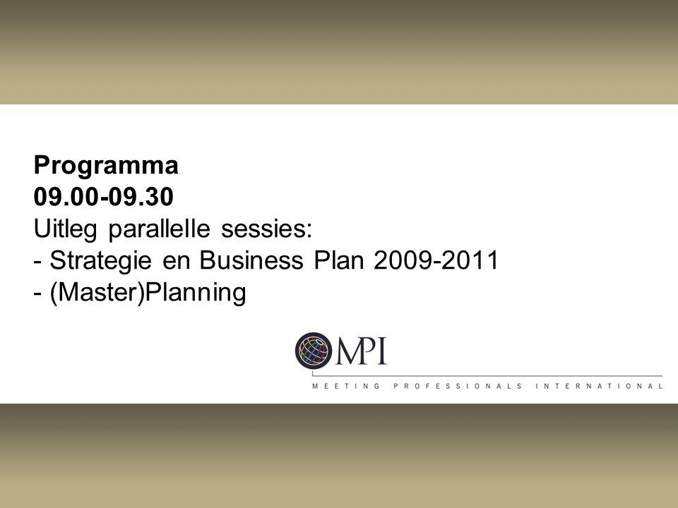 Programma 09.00-09.30 Uitleg parallelle sessies: - Strategie en Business Plan 2009-2011 - (Master)Planning