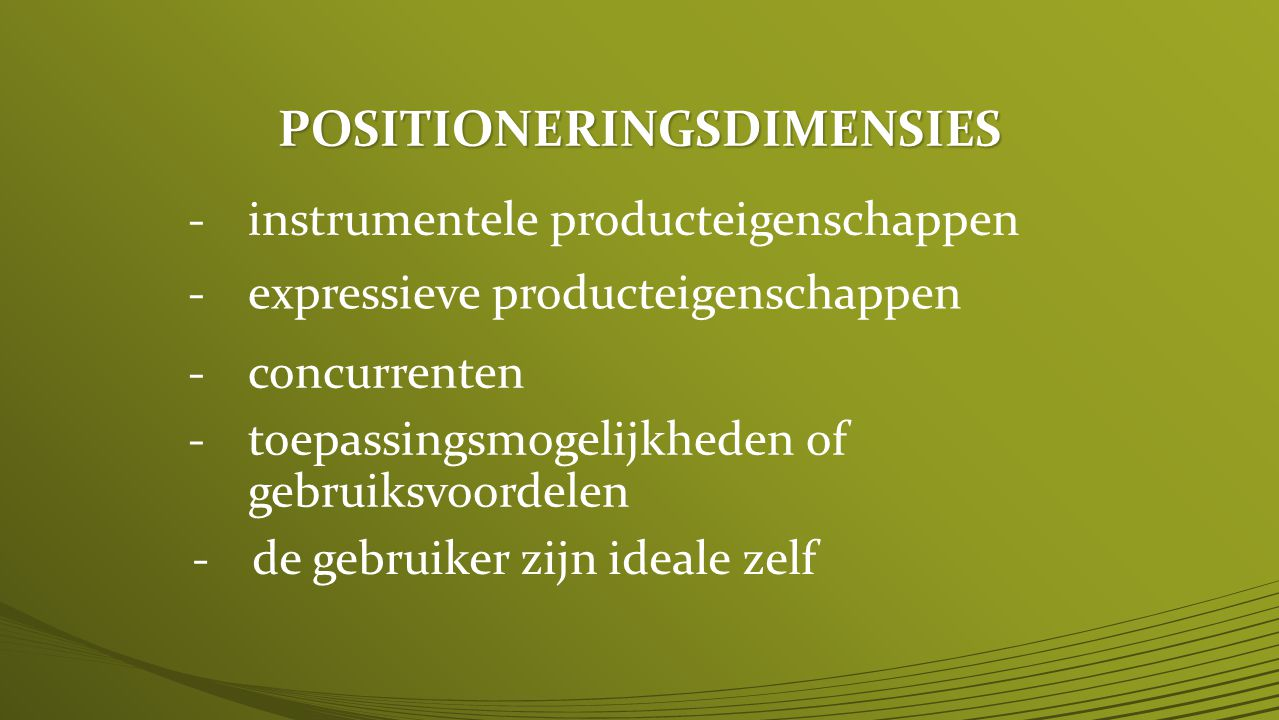POSITIONERINGSDIMENSIES