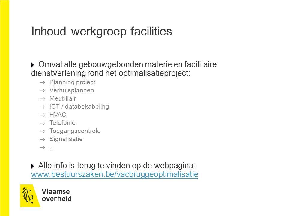 Inhoud werkgroep facilities