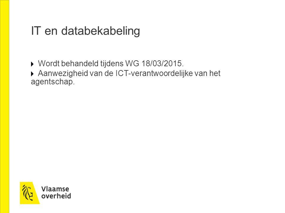 IT en databekabeling Wordt behandeld tijdens WG 18/03/2015.
