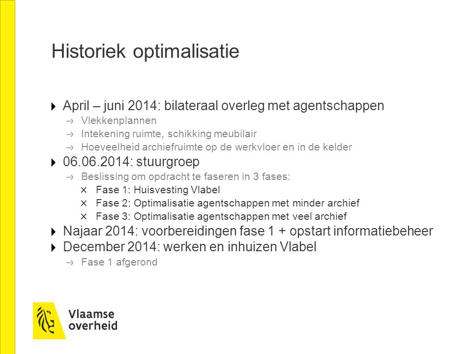 Historiek optimalisatie