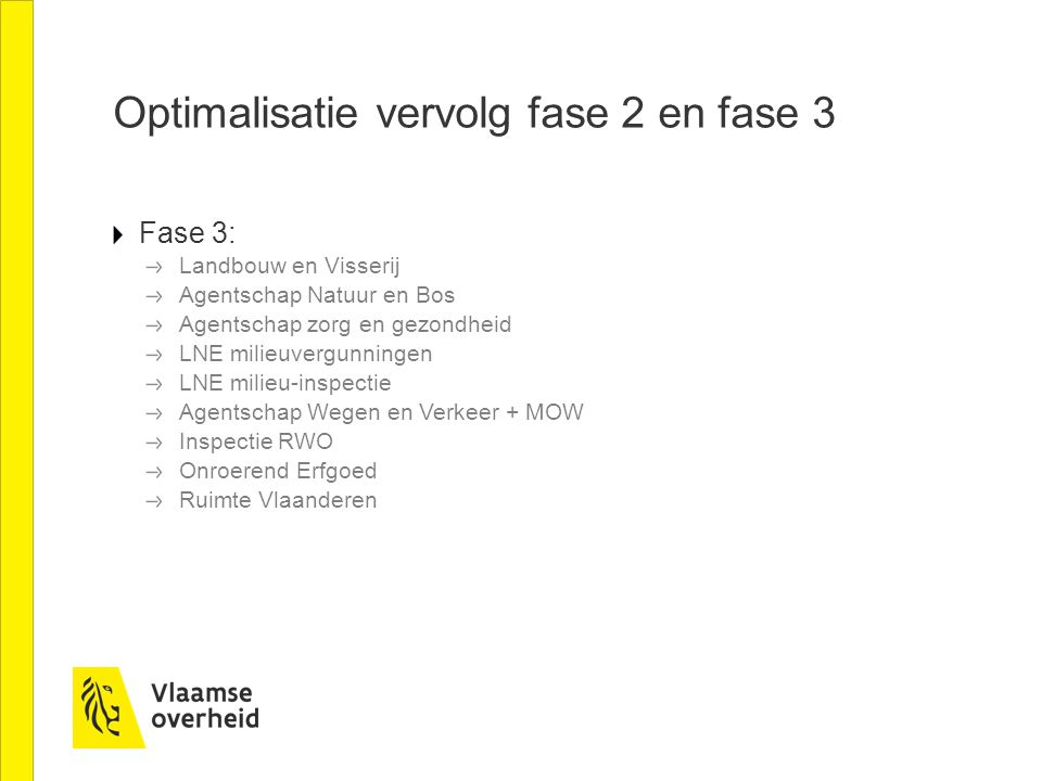 Optimalisatie vervolg fase 2 en fase 3