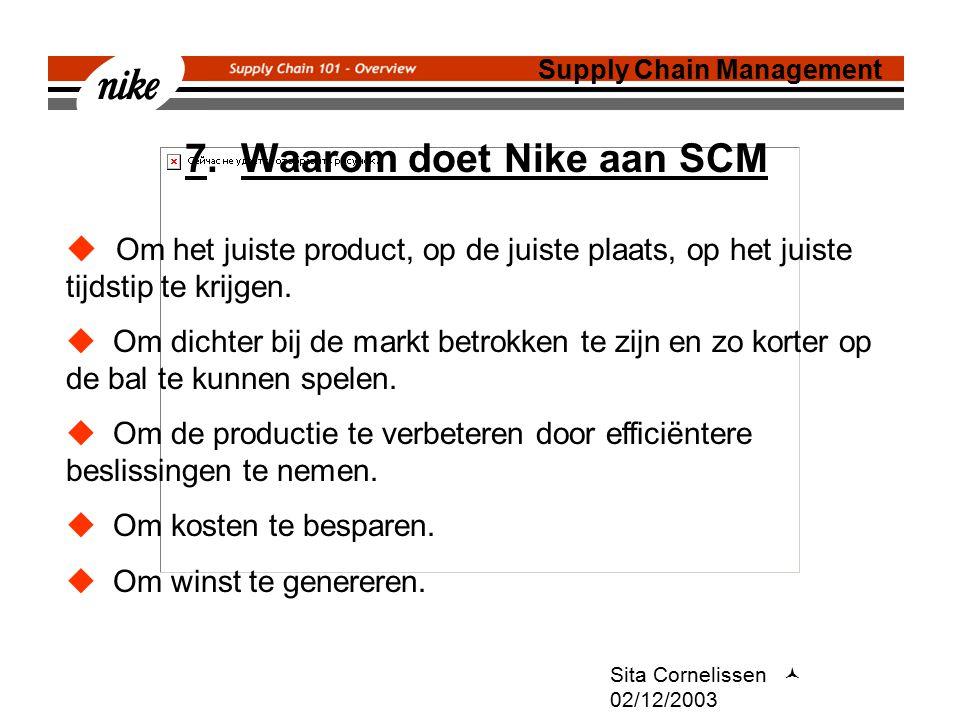 7. Waarom doet Nike aan SCM