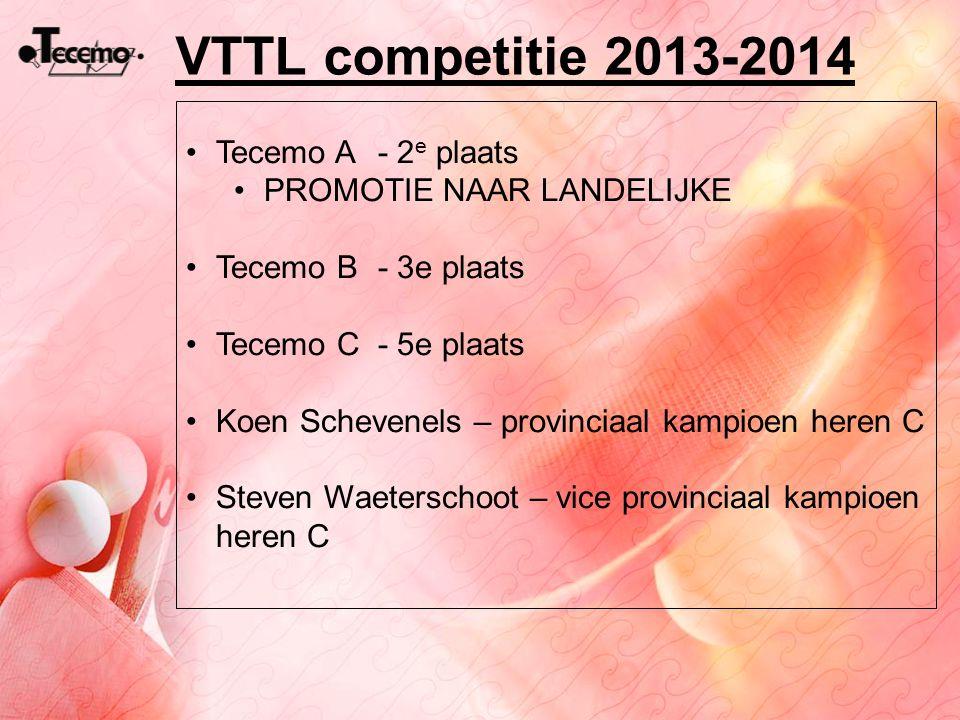 VTTL competitie 2013-2014 Tecemo A - 2e plaats