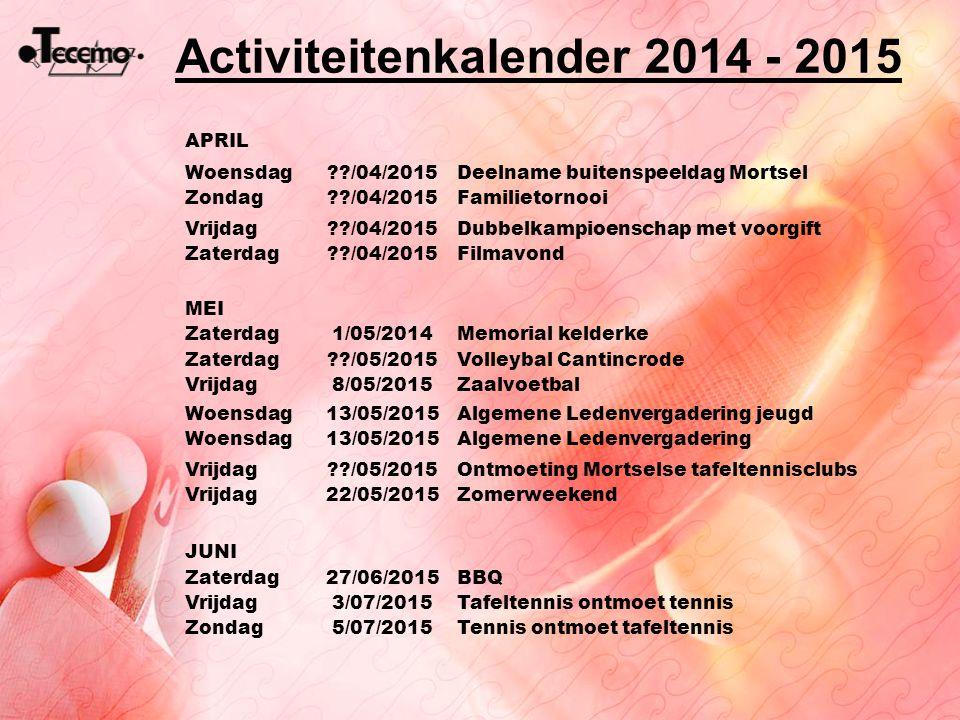 Activiteitenkalender 2014 - 2015