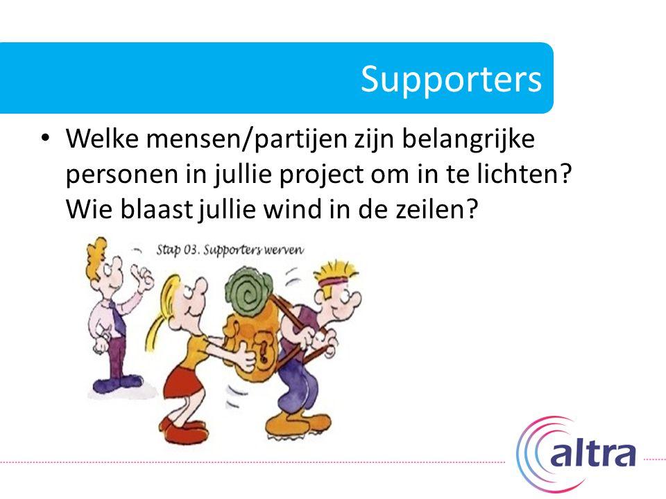 Supporters Welke mensen/partijen zijn belangrijke personen in jullie project om in te lichten Wie blaast jullie wind in de zeilen