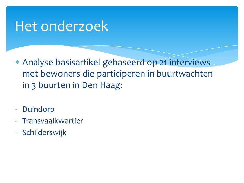 Het onderzoek Analyse basisartikel gebaseerd op 21 interviews met bewoners die participeren in buurtwachten in 3 buurten in Den Haag: