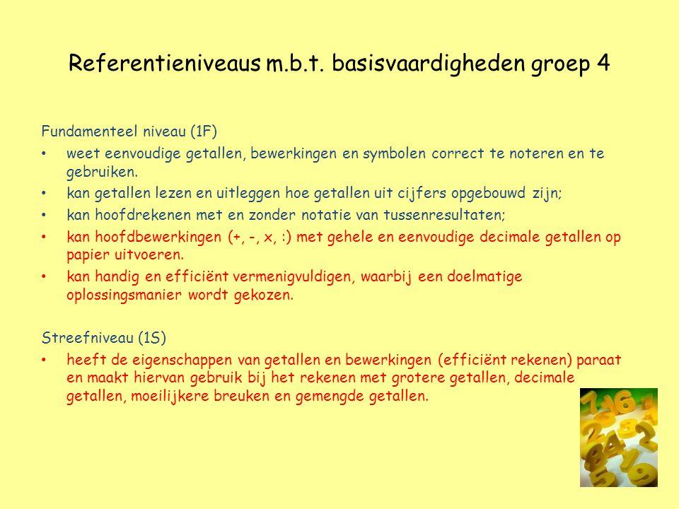Referentieniveaus m.b.t. basisvaardigheden groep 4