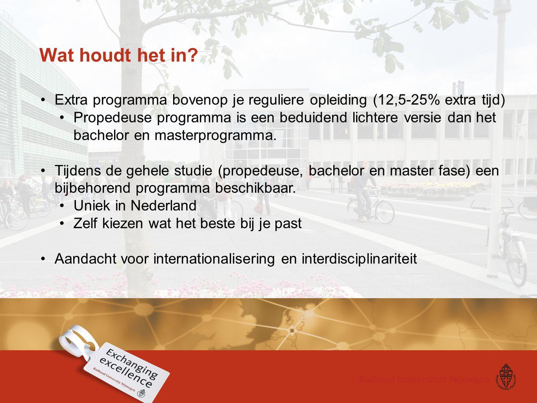 Wat houdt het in Extra programma bovenop je reguliere opleiding (12,5-25% extra tijd)