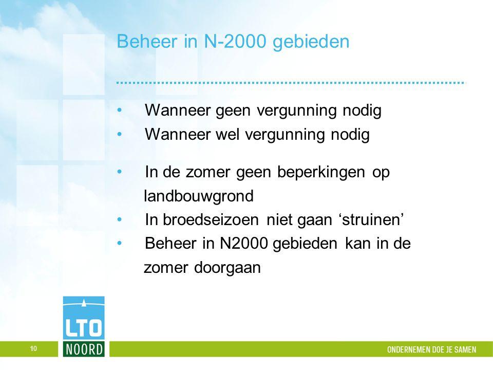 Beheer in N-2000 gebieden Wanneer geen vergunning nodig