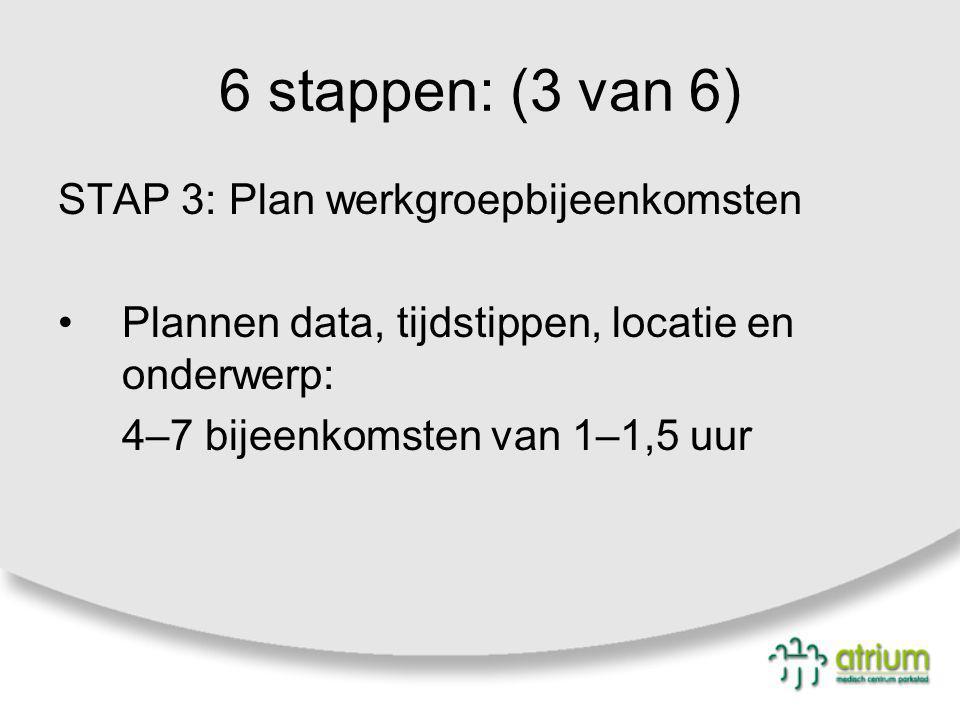 6 stappen: (3 van 6) STAP 3: Plan werkgroepbijeenkomsten