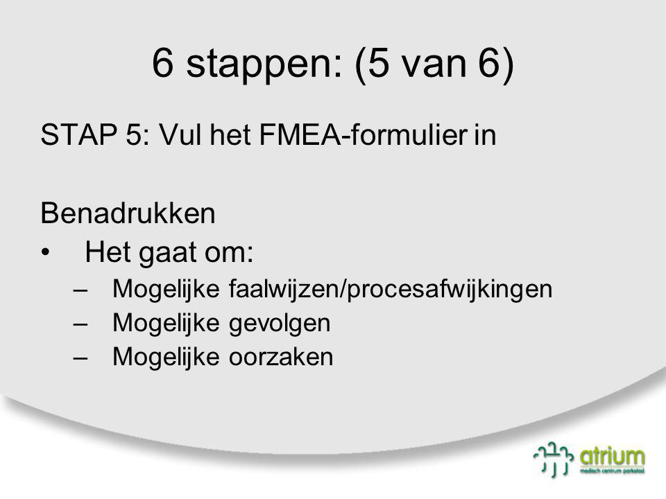 6 stappen: (5 van 6) STAP 5: Vul het FMEA-formulier in Benadrukken