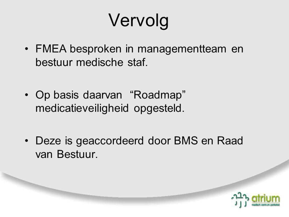 Vervolg FMEA besproken in managementteam en bestuur medische staf.