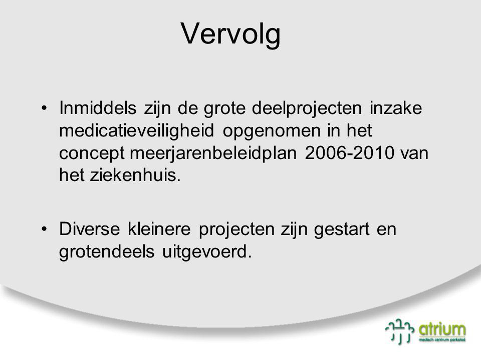Vervolg Inmiddels zijn de grote deelprojecten inzake medicatieveiligheid opgenomen in het concept meerjarenbeleidplan 2006-2010 van het ziekenhuis.