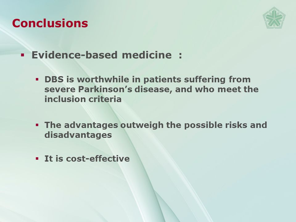Conclusions Evidence-based medicine :