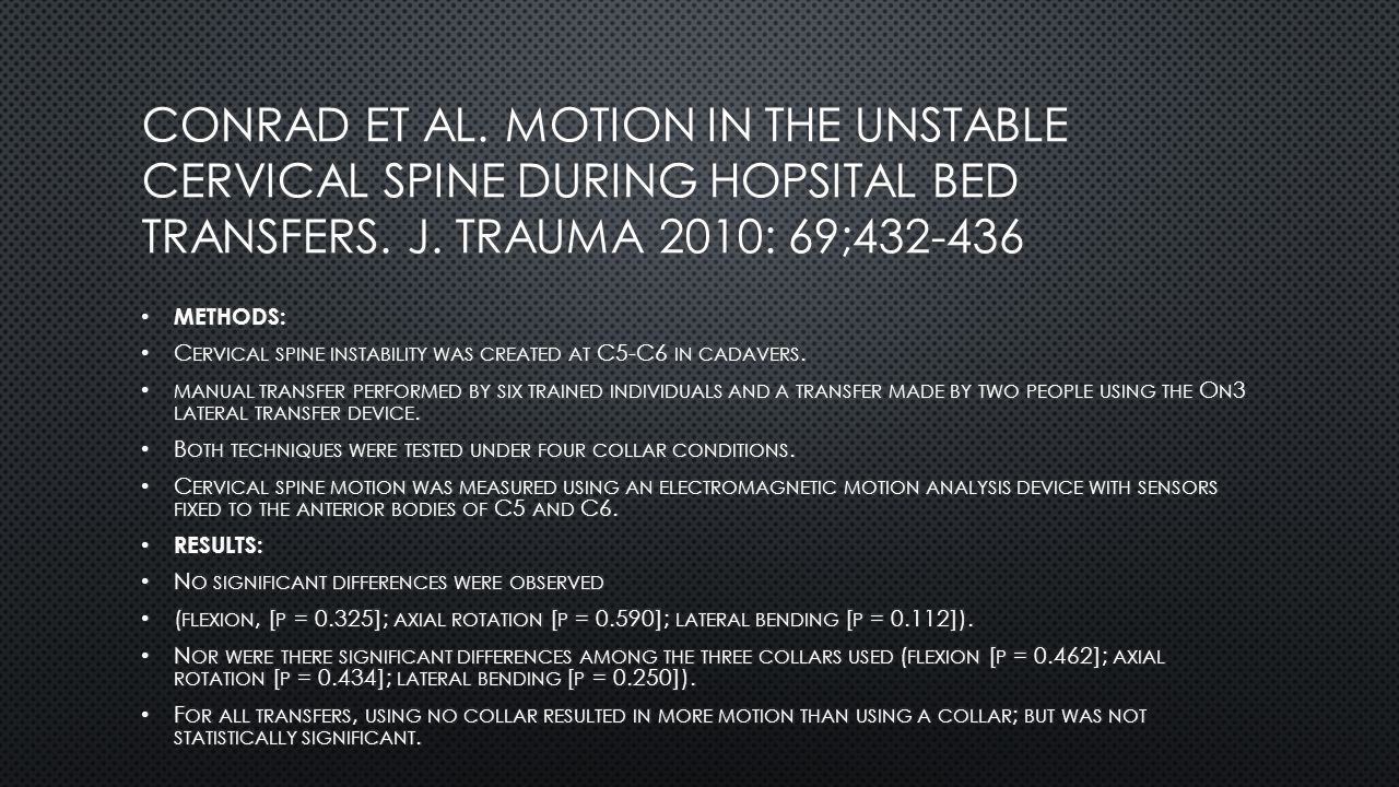 Conrad et al. Motion in the unstable cervical spine during hopsital bed transfers. J. Trauma 2010: 69;432-436