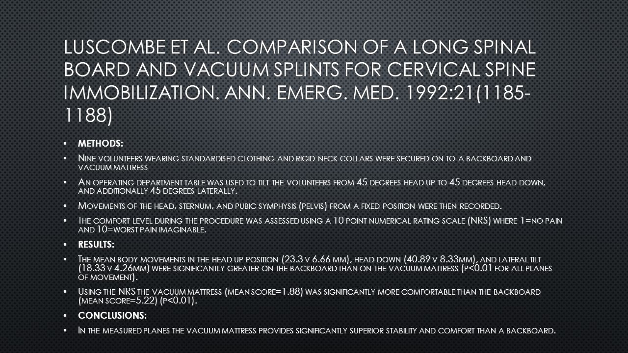 Luscombe et al. Comparison of a long spinal board and vacuum splints for cervical spine immobilization. Ann. Emerg. Med. 1992:21(1185-1188)