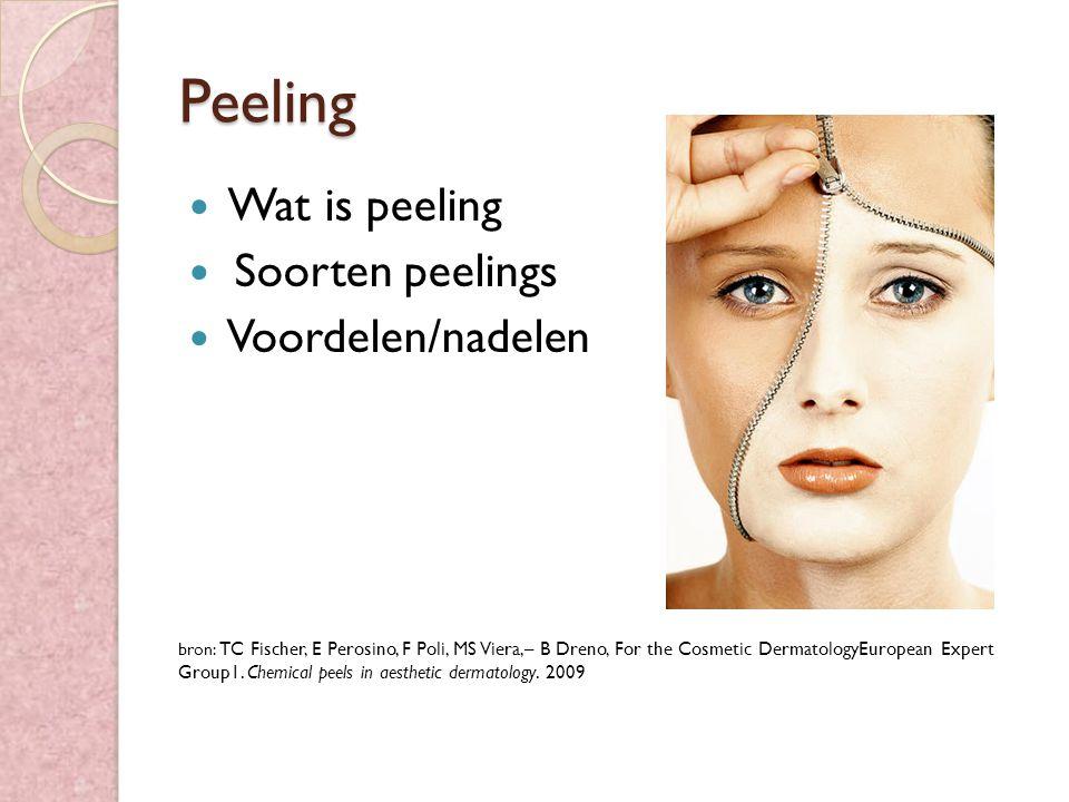 Peeling Wat is peeling Soorten peelings Voordelen/nadelen