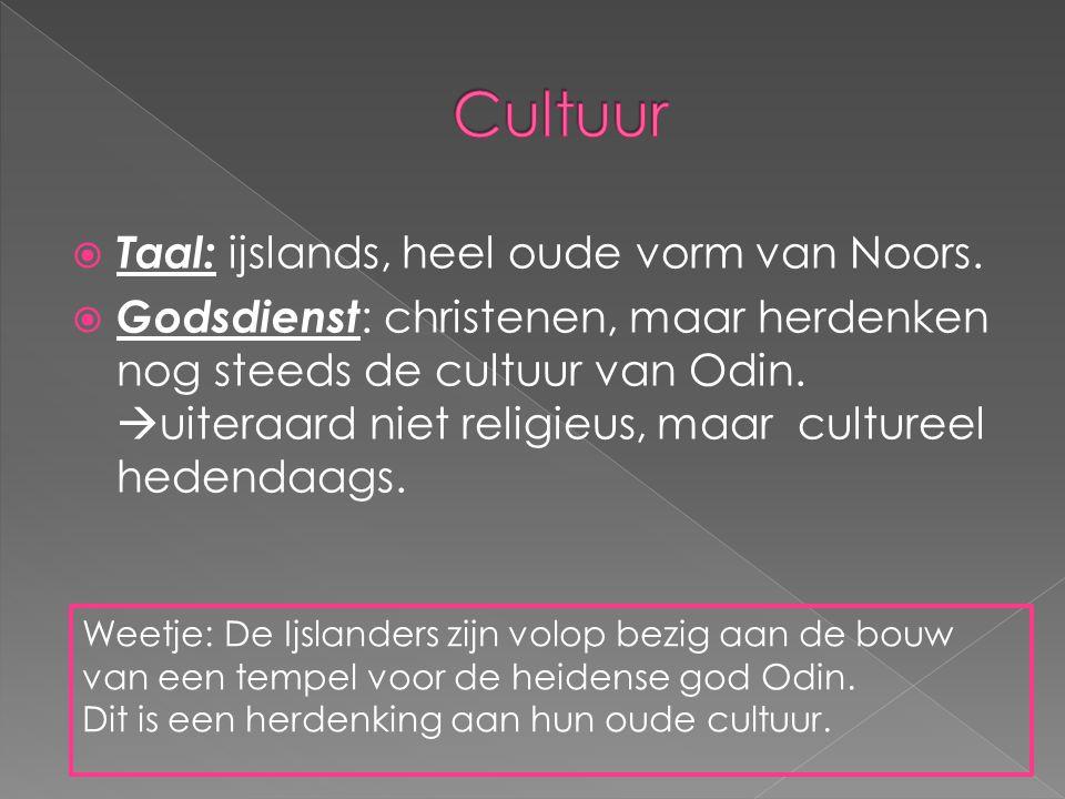 Cultuur Taal: ijslands, heel oude vorm van Noors.