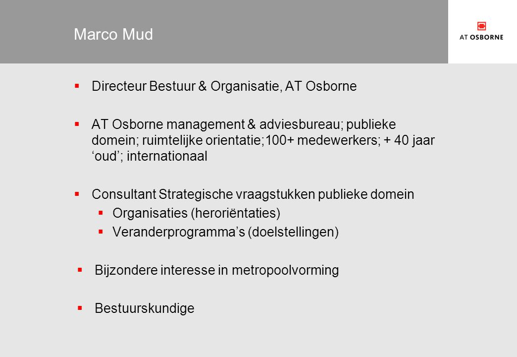 Marco Mud Directeur Bestuur & Organisatie, AT Osborne