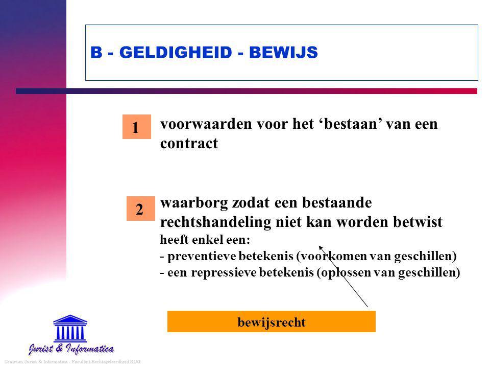 B - GELDIGHEID - BEWIJS