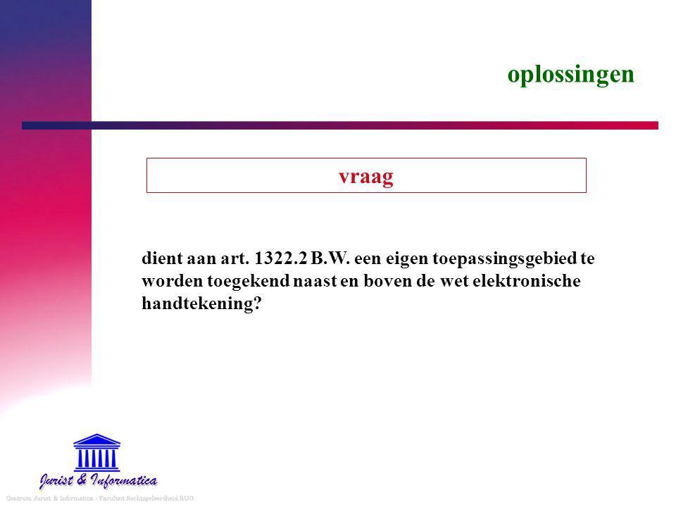 oplossingen vraag. dient aan art. 1322.2 B.W.