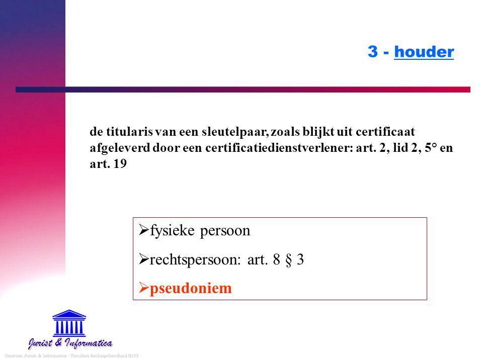 3 - houder fysieke persoon rechtspersoon: art. 8 § 3 pseudoniem