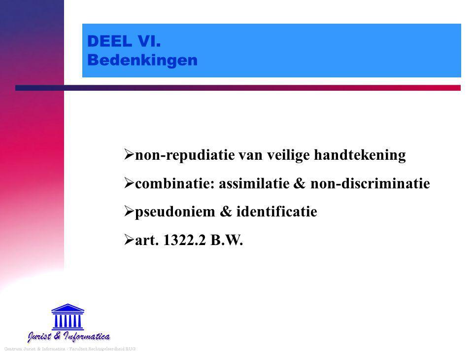 DEEL VI. Bedenkingen non-repudiatie van veilige handtekening. combinatie: assimilatie & non-discriminatie.