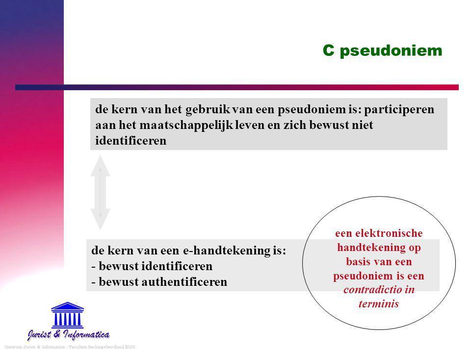 C pseudoniem de kern van het gebruik van een pseudoniem is: participeren aan het maatschappelijk leven en zich bewust niet identificeren.